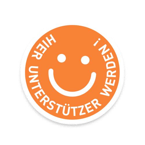 Smiley mit dem Schriftzug: Hier Unterstützer werden!